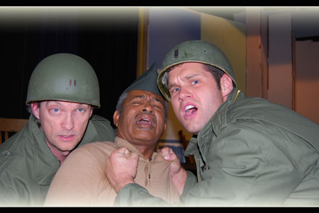 T J Toups as Captain Wilcox, Harold X Evans as Sgt. Waters & Matthew Madden as Lt. Byrd in A Soldier's Play