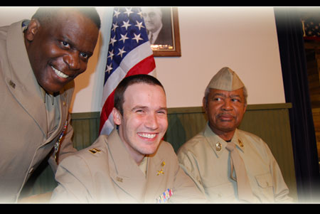 (L) Anthony Bean as Capt Davenport, Nick Thompson as Capt Taylor & Harold X Evans as Sgt Waters