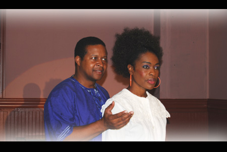 Donald Lewis Jr. as Asagai & Nicole James Francois as Benita in A Raisin in the Sun