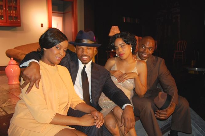 (left) Candice Ross plays Delia, Damien Moses as Sam, Inas Mahdi as Angel and Greg P. Williams as Leland
