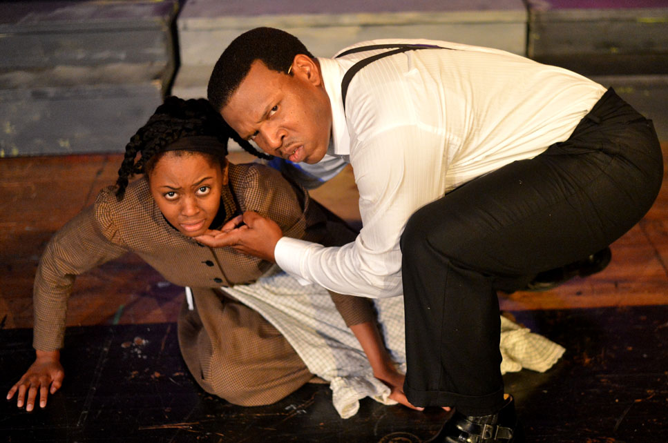 Asia Nelson as Celie and Damien A. Moses as Mister in The Color Purple