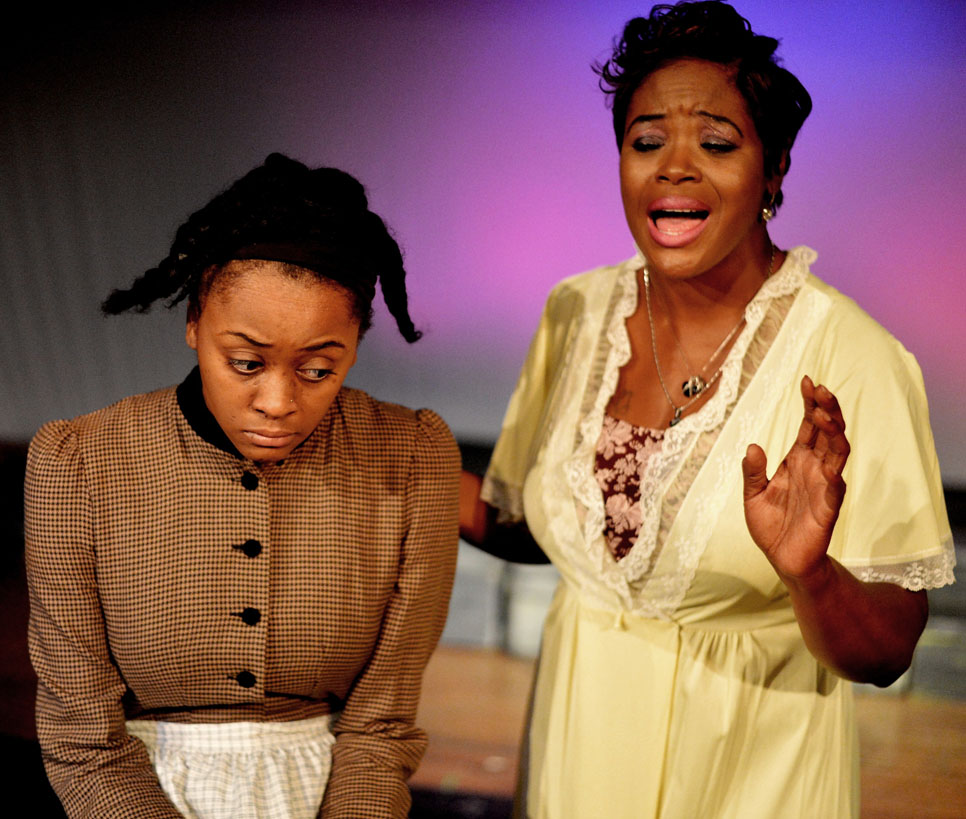 Asia Nelson as Celie and Tomeka L. Williams as Shug in The Color Purple