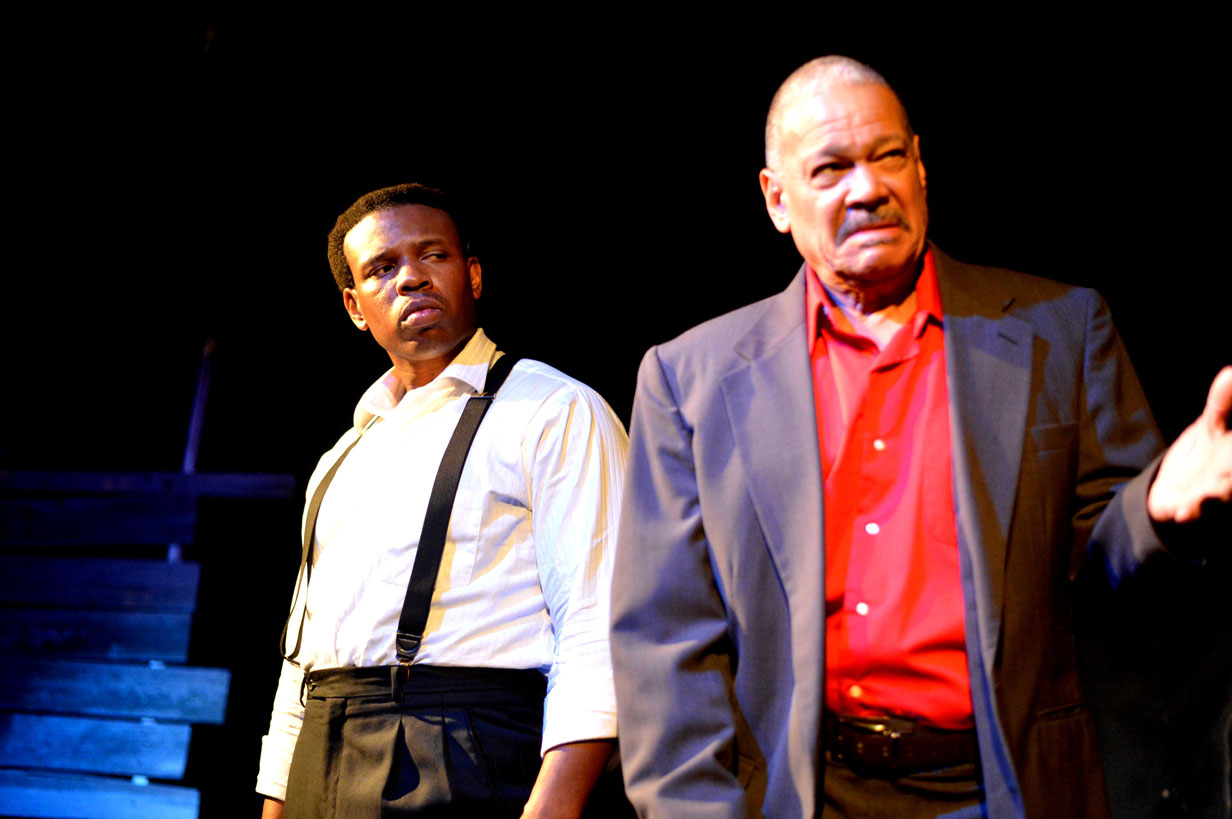 Damien A. Moses as Mister and Reynauld Harris as Paw in The Color Purple