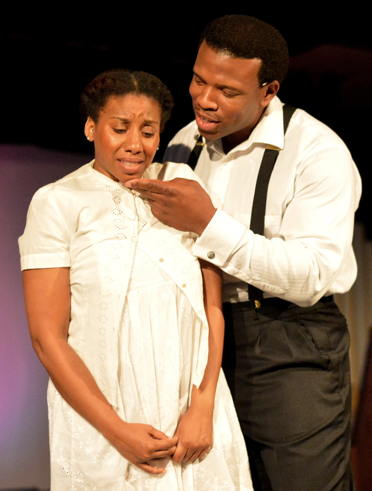 Giselle Nakhid as Netti and Damien A. Moses as Mister in The Color Purple